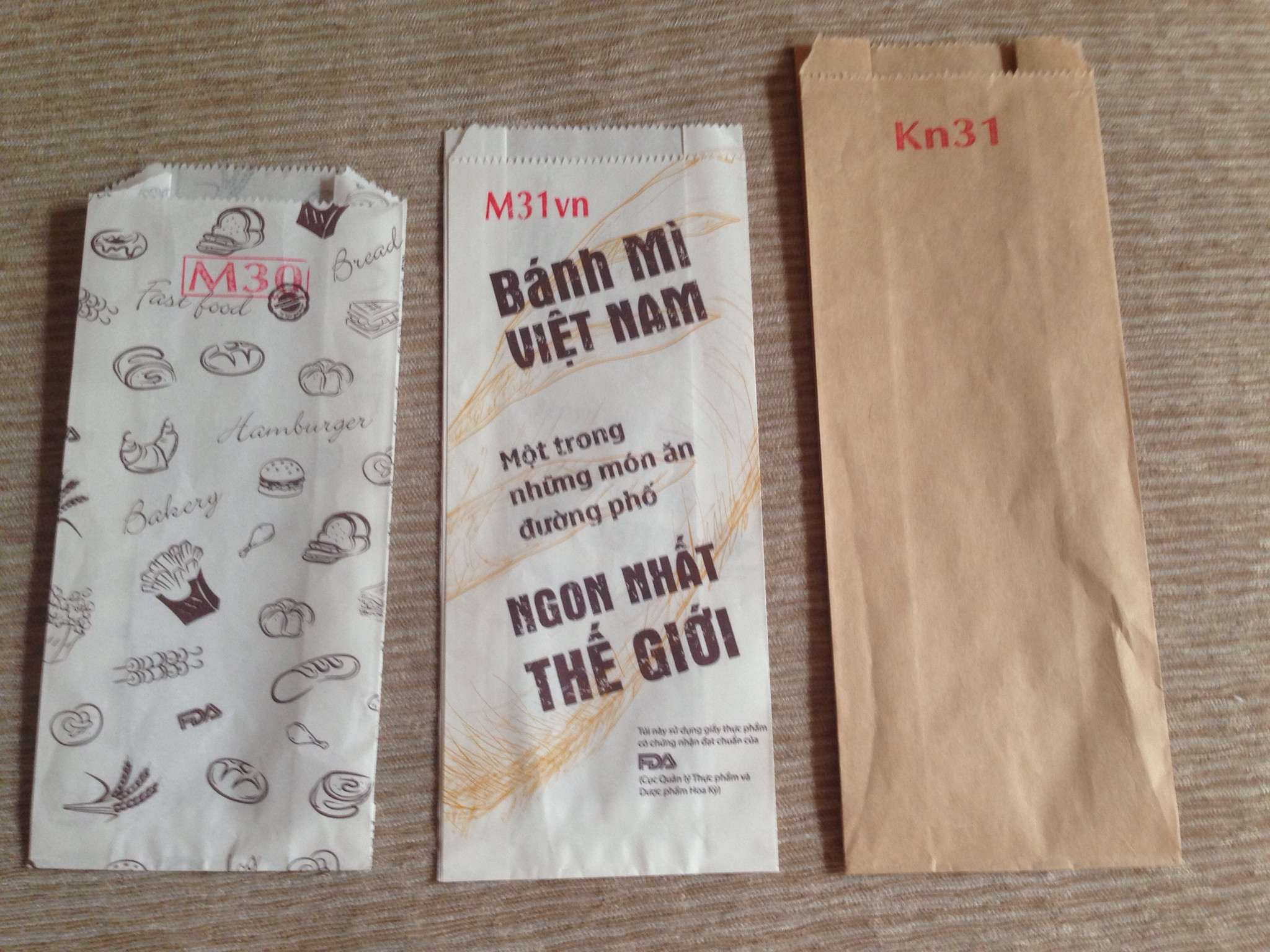 Túi giấy in sẵn, tui giay in san, tui giay co san, bao bi in san, bao bì in sẵn, túi bánh mì in sẵn