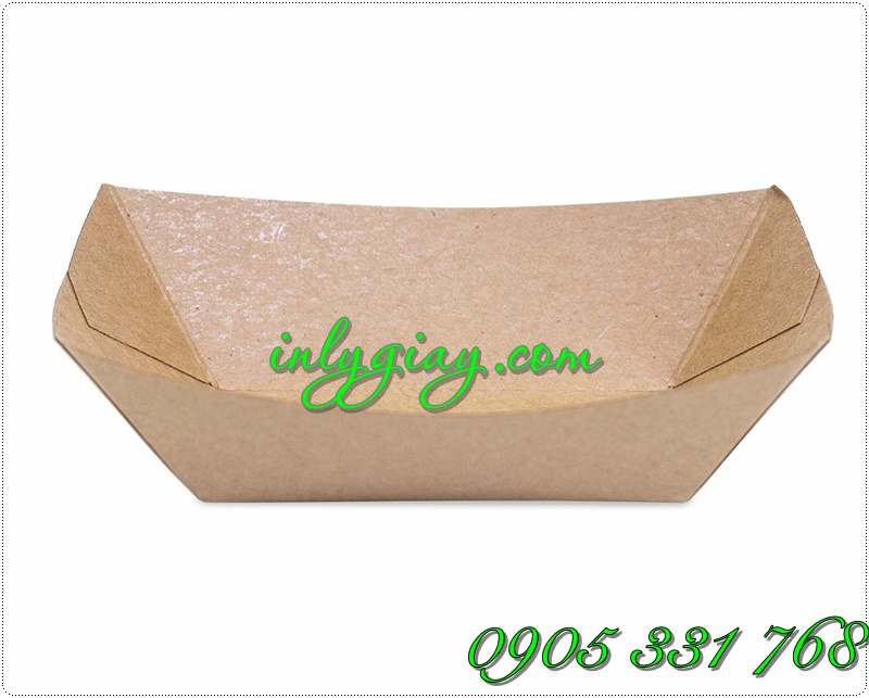 Khay giấy, Thuyền giấy thực phẩm giấy kraft, khay giay thuc pham, khay giay dung do chien